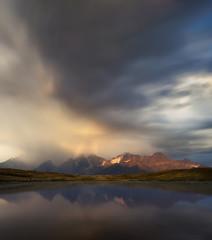 Storm sky over the Koruldi Lakes. Caucasus, Georgia