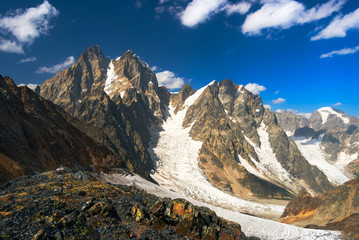 Ushba mountain in Georgia, Caucasus