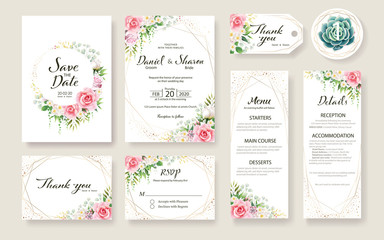 Floral Wedding Invitation card, save the date, thank you, rsvp, table label, tage template. Vector. Rose flower, Succulent, greenery plants. Wall mural