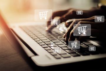 Obraz Businesswoman laptop using , online shopping concept. - fototapety do salonu