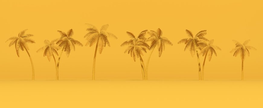 3D rendering palm trees on yellow background