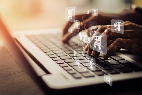 Businesswoman laptop using , online shopping concept.Vintage concept