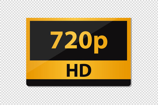 HD 720p Icon - Golden Vector Illustration - Isolated On Transparent Background