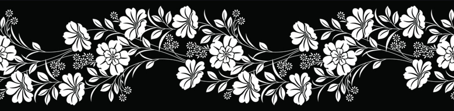 Seamless black and white floral border
