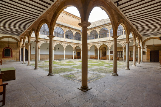 Reinassence cloister in Baeza city, Andalusia. Antique historical university. Spain