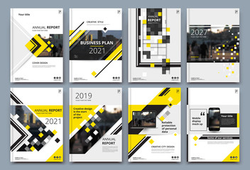 Abstract composition. White a4 brochure cover design. Info banner frame. Text font. Title sheet model set. Modern vector front page. Brand logo texture. Yellow color figures image icon. Ad flyer fiber Wall mural