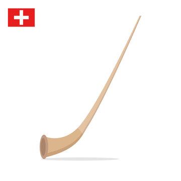 Alpine horn isolated on white background