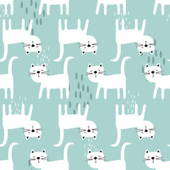 Door stickers Bestsellers Kids Happy cats, hand drawn backdrop. Blue and white seamless pattern with animals. Decorative cute wallpaper, good for printing. Overlapping background vector. Design illustration