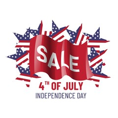 Independence day sale banner template design. 4th of july.