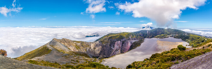 Panoramic view to the Crater of Irazu Volcano from Mirrador at Irazu Volcano National Park - Costa Rica