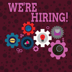 Writing note showing We Re Hiring. Business concept for recently employ someone or pay someone to do particular job Set of Global Online Social Networking Icons Cog Wheel Gear