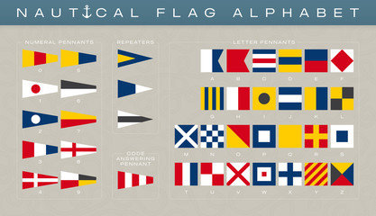 Vector international marine alphabet and nubers flags