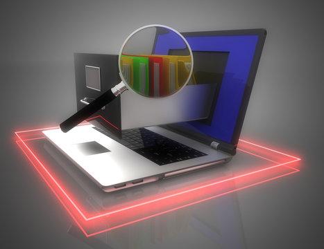 Data storage. laptop and file cabinet. 3d illustration