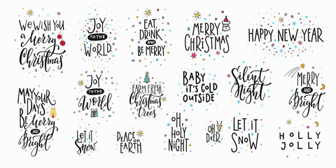 In de dag Positive Typography Christmas new year lettering typography set