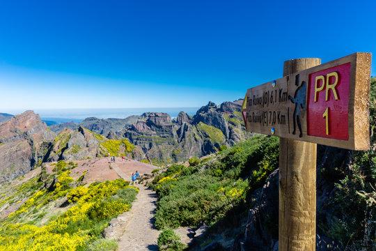 "The beginning of PR1 from ""Pico do Areeiro"" path to ""Pico Ruivo"", Madeira island, Portugal"