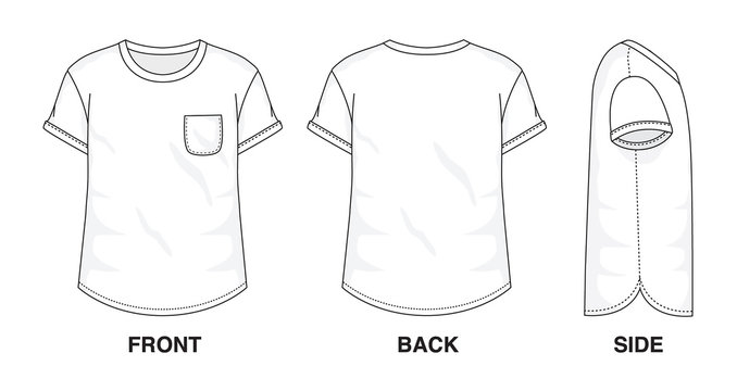 Isolated Baggy Loose t-shirt with Pocket object of clothes and fashion stylish wear fill in blank shirt. Regular Tee Crew Neck Sleeves Illustration Vector Template. Front, back and side view