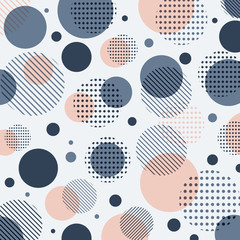 Abstract modern blue, pink dots pattern with lines diagonally on white background.