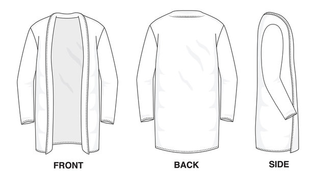 Isolated object of clothes and fashion stylish wear fill in blank shirt long cardigan sweater. Front, back and side view