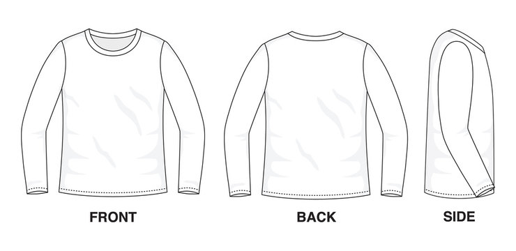 Isolated object of clothes and fashion stylish wear fill in blank shirt sweater. Regular Tee Crew Neck Tee Long Sleeves Illustration Vector Template. Front, back and side view