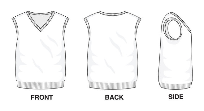 Isolated object of clothes and fashion stylish wear fill in blank shirt sweater. Front, back and side view