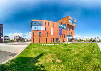 Fototapeta WROCLAW, POLAND - JUNE 01, 2019: Siechnice City Center (near Wroclaw, Poland) with modern City Hall. Architects of this urban project: Mackow Pracownia Projektowa. obraz