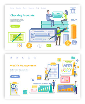 Checking account vector, people signing plans and bills, man with big pen and check on name. Retirement infographics and tax information.Wealth management. Website or webpage, landing page flat style