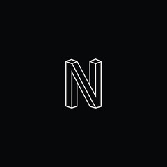 Outstanding professional elegant trendy awesome artistic black and white color N NN NA AN NV VN initial based Alphabet icon logo.
