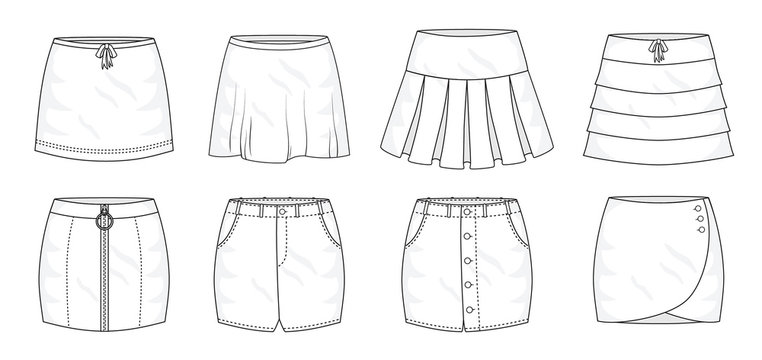 Set of summer sprint mini skirts and fashion stylish skirts collection template, fill in the blank apparal tops bottoms various styles. Bow tie, pleated, layered, zipped, jeans, buttons wrap and loose