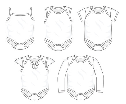 Set of baby rompers and fashion stylish  collection template, fill in the blank  tops bottoms various styles. Childres toddlers, sleeves and sleeveless vector outline