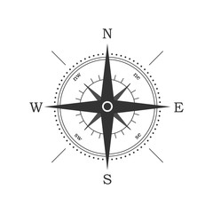 Image of a round compass on a white background. Black compass indicating the direction.