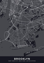Brooklyn map. Dark poster with map of Brooklyn borough (New York, United States). Highly detailed map of Brooklyn with water objects, roads, railways, etc. Printable poster.