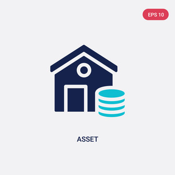 two color asset vector icon from cryptocurrency economy concept. isolated blue asset vector sign symbol can be use for web, mobile and logo. eps 10