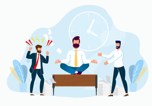 Professional Stress Management at Work Cartoon.