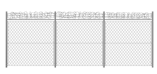 Chain-link, rabitz fence fragment with metallic pillars and barbed or razor wire 3d realistic vector illustration isolated on white background. Secured territory, protected area or prison fencing
