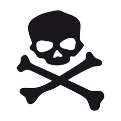 Vector black skull and crossbones. Isolated on white background