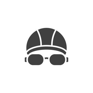 Swimming hat and glasses vector icon. filled flat sign for mobile concept and web design. Goggles and swimming cap glyph icon. Symbol, logo illustration. Vector graphics