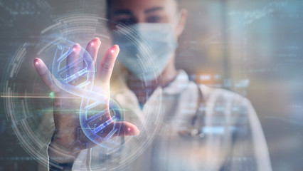 Portrait of a woman doctor is using a futuristic latest innovative technology for viewing samples of DNA with augmented reality holograms in a laboratory. Wall mural