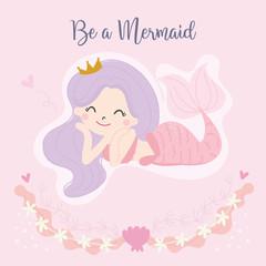 Cute little mermaid vector. Illustration.