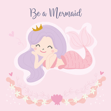 Cute little mermaid vector. Illustration.