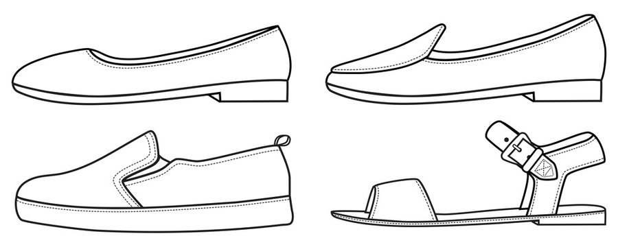Flat shoes outline line vector fill in sandal, hand drawn illustration black fill in the blank template sneaker slipper shoe template outline