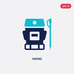 two color hiking vector icon from free time concept. isolated blue hiking vector sign symbol can be use for web, mobile and logo. eps 10