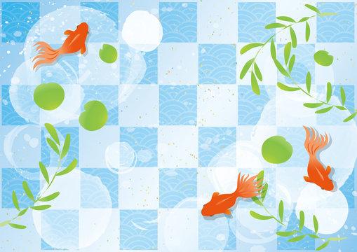 金魚と水草のイラスト