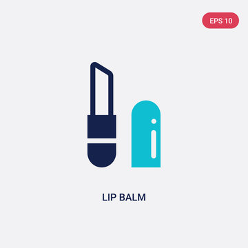 two color lip balm vector icon from hygiene concept. isolated blue lip balm vector sign symbol can be use for web, mobile and logo. eps 10