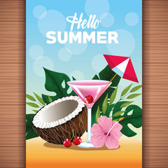 Hello summer card poster with cartoons