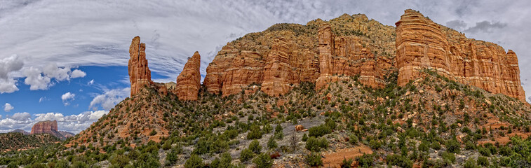 Panorama of Courthouse Butte, Rabbit Ears, and Lee Mountain in Sedona, composed of eight photos, Arizona, United States of America, North America