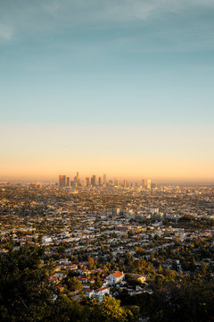 The Los Angeles City skyline taken from the Griffith Observatory, Los Angeles, California