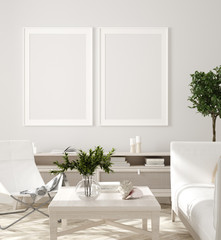 Poster, wall mockup in beige interior with white sofa, wooden table and plants, Scandinavian style, 3d render