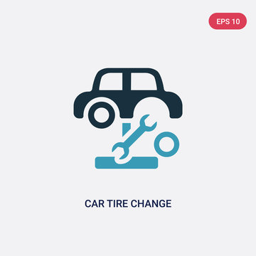 two color car tire change vector icon from mechanicons concept. isolated blue car tire change vector sign symbol can be use for web, mobile and logo. eps 10