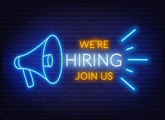 Neon sign we are hiring - join us on the brick wall background. Light poster or banner for recruiting. Vector.