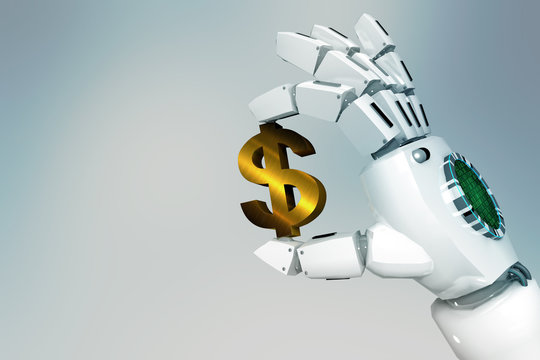 3d rendering robot hand holding a dollar sign on a light background